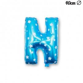 Balão Letra N Foil Azul com Estrelas 40 cm