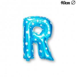 Balão Letra R Foil Azul com Estrelas 40 cm