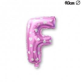 Balão Letra F Foil Rosa com Corações 40 cm