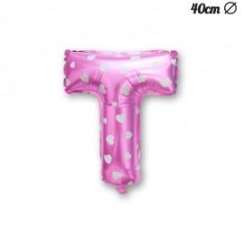 Balão Letra T Foil Rosa com Corações 40 cm
