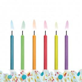6 Velas para Aniversário com Chama de Cores