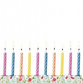 10 Velas Listradas para Aniversário