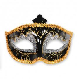 Máscara Preta e Dourada para Festas