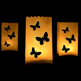 10 Bolsas Porta Velas Mariposas 26 cm