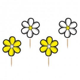 6 Palitos com Flores Amarelas e Brancas