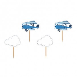 6 Palillos con Avionetas y Nubes