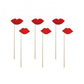 6 Lábios Vermelhos para Photo Booth