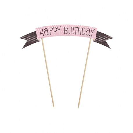 Mini Pancarta para Tarta con Happy Birthday 19 cm