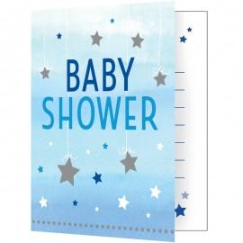 8 Convites Baby Shower Primeiro Ano Menino Estrellitas