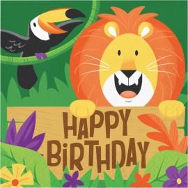 16 Guardanapos Animais da selva Happy Birthday 33 cm