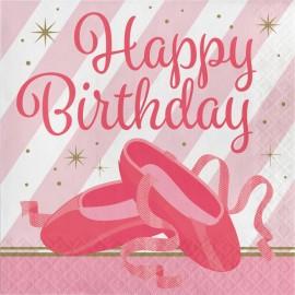 16 Guardanapos dançarina Happy Birthday 33 cm