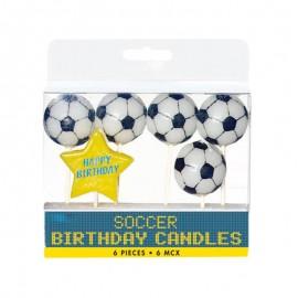 5 Velas forma Pelota Futbol con Estrella Happy Birthday