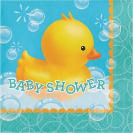 16 Guardanapos patinhos Baby Shower 33 cm