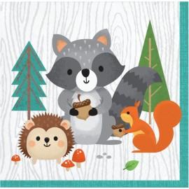 16 Guardanapos Animais da floresta 25 cm
