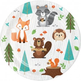 8 Pratos Animais da floresta 18 cm