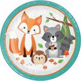 8 Pratos Animais da floresta 23 cm