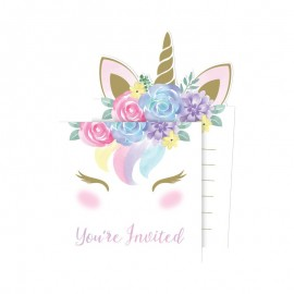 8 Convites Unicornio Baby