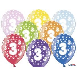 Balões Número 3 Redondo 32 cm