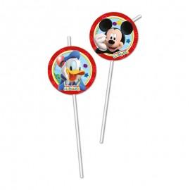 6 Pajitas Medallón Mickey Mouse