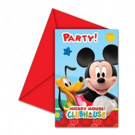 6 Invitaciones Mickey Mouse