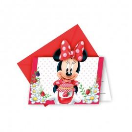 6 Invitaciones Minnie Mouse Jardín