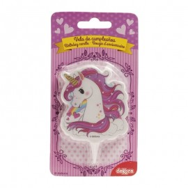 Vela 2D Unicornio Rosa