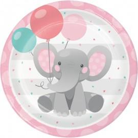8 Pratos Elefantito rosa 23 cm