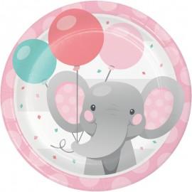 8 Pratos Elefantito rosa 18 cm