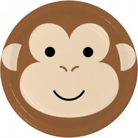 8 Pratos Macaco Caras de Animais 23 cm