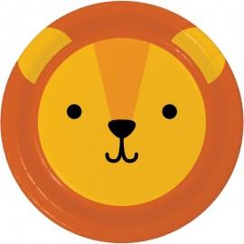 8 Pratos Leão Caras de Animais 23 cm