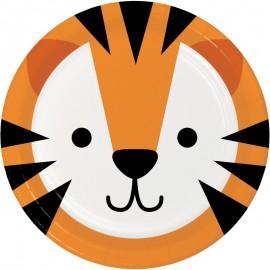 8 Pratos Tigre Caras de Animais 23 cm