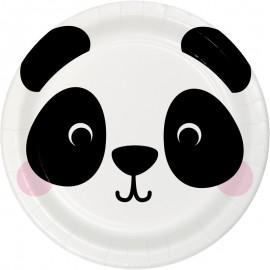 8 Pratos Panda Caras de Animais 18 cm