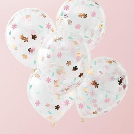 5 Balões com Confetes Florais