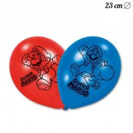 6 Balões de Látex Super Mario 23 cm