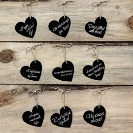 10 Etiquetas de Coração com Corda