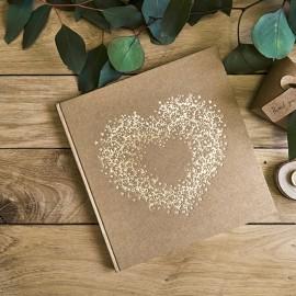 Livro de Assinaturas Kraft Coração Dourado