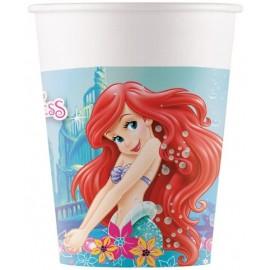8 Vasos de La Sirenita Ariel 200 ml