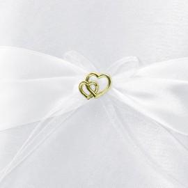 Almofada de Anel Branco com Corações Dourados