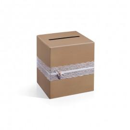Caixa Postal para Casamento Kraft com Detalhes de Encaixa