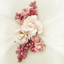 Almofada para Anéis Cor Creme com Flores