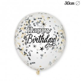 6 Balões de Confete Happy Birthday Elegante 30 cm