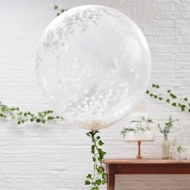 3 Balões de Confete Gigante Branco 90 cm