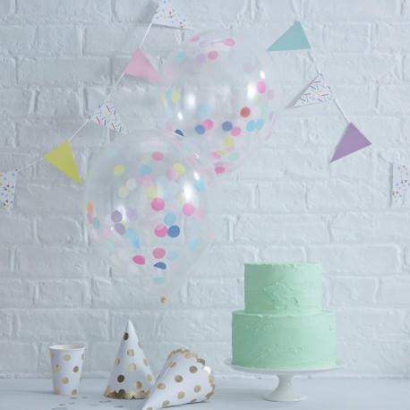 5 Balões de Confete Cores Patel 30 cm