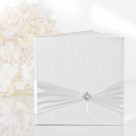 Livro de Assinaturas Branco com Enfeite Prata