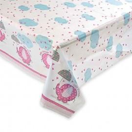 Mantel Baby Shower Niña con elefante 137 x 213 cm
