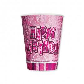 8 Vasos Happy Birthday Rosa Glitz