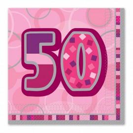16 Guardanapos 50 Anos Rosa Glitz
