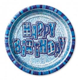 8 Pratos Happy Birthday Azul Glitz 23 cm