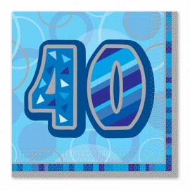16 Guardanapos 40 Anos Azul Glitz