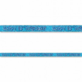 Cartel Happy Birthday 18 Años Azul Glitz
